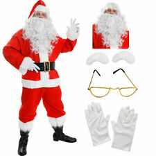 ADULTS 10 PIECE SANTA CLAUS SUIT FATHER CHRISTMAS COSTUME XMAS MENS FANCY DRESS