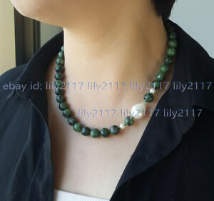 Natural 10mm Ruby Zoisite Round Gems Genuine White Baroque Pearl Necklace 18''