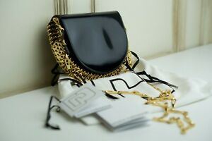 PACO RABANNE BLACK LEATHER HALF MOON MINI CHAIN BAG