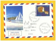 PAPEETE (POLYNESIE) Enveloppe illustrée PIROGUE à VOILE / 1° Jour vue de Espace