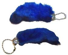 2 BLUE COLORED RABBIT FOOT KEY CHIANS novelty bunny fur hair feet ball chain NEW