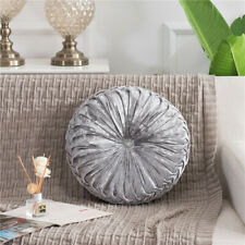 35 cm Round Velvet Back Cushion Luxury Diamante Chic Filled Crushed 7 Colors NEW