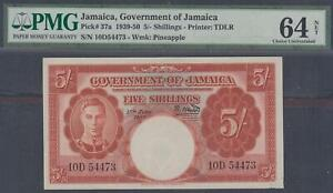 Goverment of Jamaica 5 Shillings P-37a ND(1939-50)  PMG 64 Net