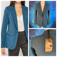 K Y CREATION Ladies Teal Jacket Size 14/16 T5 Pockets Lined Smart Blazer NEW NWT