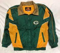 Vtg 90s NFL Green Bay Packers Full Zip Windbreaker 100% Silk Jacket Size XL