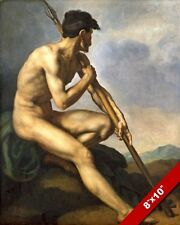 NUDE SPARTAN WARRIOR WITH SPEAR JAVELIN PAINTING ART REAL CANVAS GICLEE PRINT