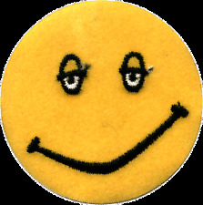 """20013 Happy Face Drowsy Stoned Iron on Sew Patch Smiley Bright Yellow Sleepy 3"""""""