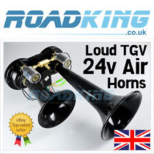 24 Volt Black TGV Double Air Horn Set  - Truck Lorry Bus Boat