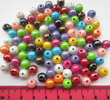 100 x 8mm opaque AB coated round mixed colour acrylic beads 8mm A96