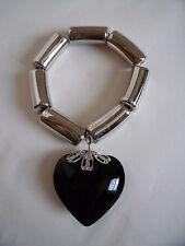 New Chunky Silver Metal Stretch Bracelet with a Black Glass Heart