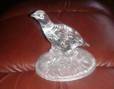 CLEAR PRESSED GLASS GROUSE FIGURINE