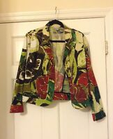 CHICO'S SIZE 1 GREEN RED LEAVES BLAZER