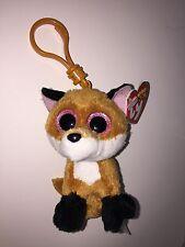 TY SLICK FOX BEANIE BOOS KEY CLIP,NEW w/TAG-SUPER CUTE-**IN HAND**