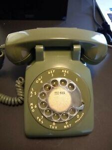 Working Vintage Avocado Green Rotary Phone - Converted to modular plug!