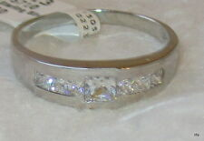 925 Sterling Mens 7 Stone Simulated Diamond Wedding Band Ring Sz 9 10 11 12 13