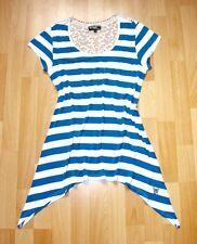 Spitzentunika Ringelshirt 38 40 Longshirt Seemann Muster Gestreift Weiß Blau