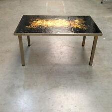 table basse années 40 piètement carré inox dessus plaque décor lave . XX siècle.