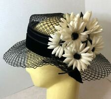 Vintage Open Weave Black Mesh & Daisies Woman's Hat