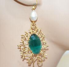 ORECCHINI ORO Cristallo Verde Smeraldo Perla donna Argento 925 Bronzo dorato P2