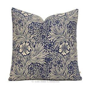 William Morris Marigold Designer Vintage Blue Floral Designer Cushion Cover