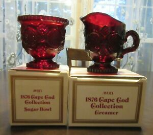 AVON RUBY RED 1876 CAPE COD COLLECTION CREAMER AND SUGAR BOWL EUC WITH BOXES