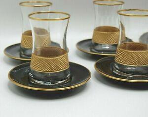 Turkish Tea Glass Set of 6 Cups Glasses Saucers Set Golden frame