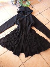 BORIS INDUSTRIES Fleece Mantel Kapuze mit Smok 44 46 48 50 NEU schwarz LAGENLOOK