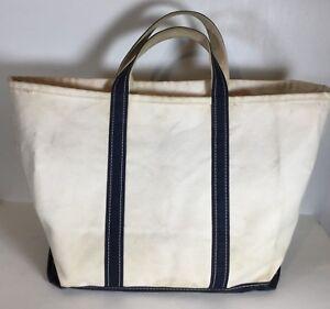 Vintage L L BEAN Boat & Tote Navy Blue Ivory Canvas Bag Freeport Maine nautical