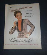 "1939 Chesterfield Cigarettes Vintage Magazine Ad ""The right combination"""