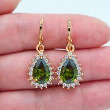 18K Yellow Gold Filled Women Green Topaz Zircon Teardrop Earrings Jewelry