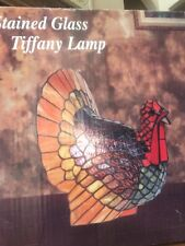 NIB Cracker Barrel Turkey Thanksgiving Stained Glass Tiffany Lamp Vintage