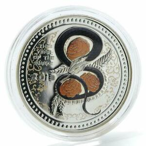 Cook Islands 5 dollars Year of the Snake colorized silver coin 2013