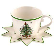 Spode Set of 2 Jumbo Christmas Cups 18 oz w/ STAR saucers * Retails $70