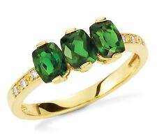 14K Yellow Gold Gemstone Ring Green Chrome Diopside 3 Stone Oval & Diamond Ring