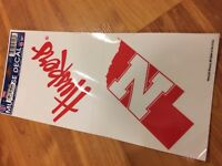 B67 NCAA University of Nebraska Huskers 4x4 inch Color Logo Decal NEW 2 CLINGS