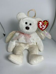 Ty Beanie Baby Halo the Angel Bear with Brown Nose.  ERRORS!