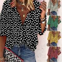 Plus Size Ladys Bohemian Floral T-Shirt Loose Long Sleeve V Neck Tops Tee Blouse
