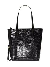 Michael Kors Emry Black Crinkled Leather Women Large Tote RTL $298 New