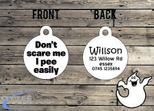 "Halloween Dog ID Collar Tag ""Don't Scare Me I Pee"" - Double Sided Pet Charm Tag"