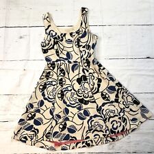 Vanessa Virginia ANTHROPOLOGIE Blue BLACK ivory flared sheath dress, size 4