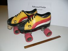 Vintage Red Yellow White Roller Skates Sz 8