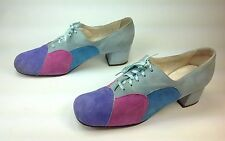Women's Vtg. D'Cardo Exqusites Multi Suede Square Toe Lace Up Fashion Shoes Sz.8