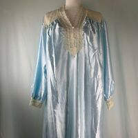 Vintage Ilise Stevens Nightgown Robe M Blue Lace Fleece Lined Pearl Buttons