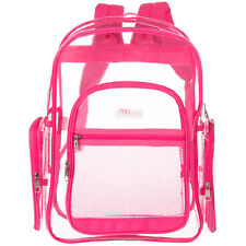 MGgear 17-Inch Clear Security Backpack with Pink Trim, Transparent PVC Book Bag