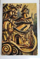 VINTAGE OIL ON CANVAS CUBA HAVANA HABANA PAINTING WILD CURVE BUILDING LARGE