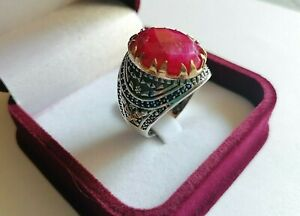 Genuine Natural Ruby Stone Ring Men Jewelry 925 Sterling Silver Size 10.5 US