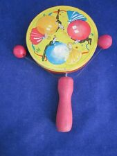 T Cohn New Year's Eve Party Tin Paddle Noisemaker 3 Balls & Dancers Loose Handle