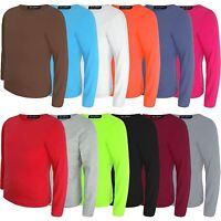 Kids Basic Top Plain Long Sleeve Boys Girls T-Shirt Tops Crew Uniform Tee 3-14Y