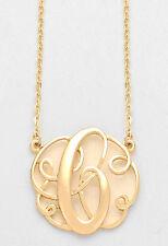 "Monogram Initial Necklace GOLD Letter C Script Circle 1.5""Pendant Personalized"
