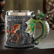 Novelty Royal Dragon Sparkle Decorative Cup Stainless Steel Mug Serpent Handle
